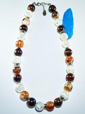 Halskette aus Bergkristall, Erdbeerquarz und rotem Tigerauge 14mm