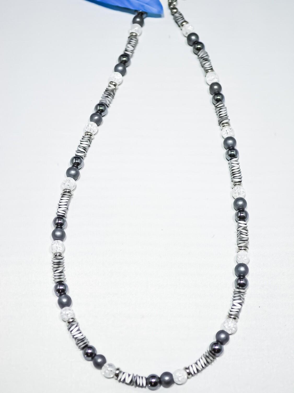 Halskette Bergkristall und Hämatit