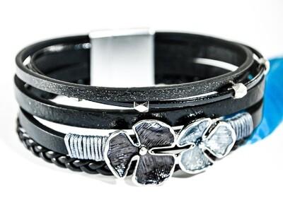 Armband schwarz mit Blume