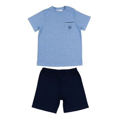 Pyjama short NOA lichtblauw + marine