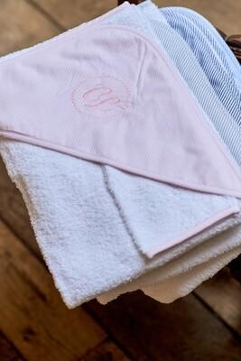 Badcape flanel roze streepje