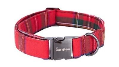 Collier-Laisse Écossais rouge