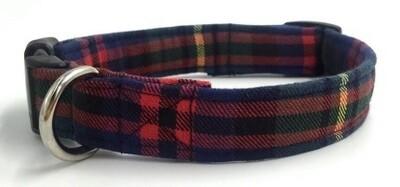 Collier-Laisse Écossais vert/rouge