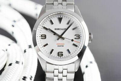 Borealis Adraga Stainless Steel Miyota 90S5 white matte dial Commando Hands Black Lume