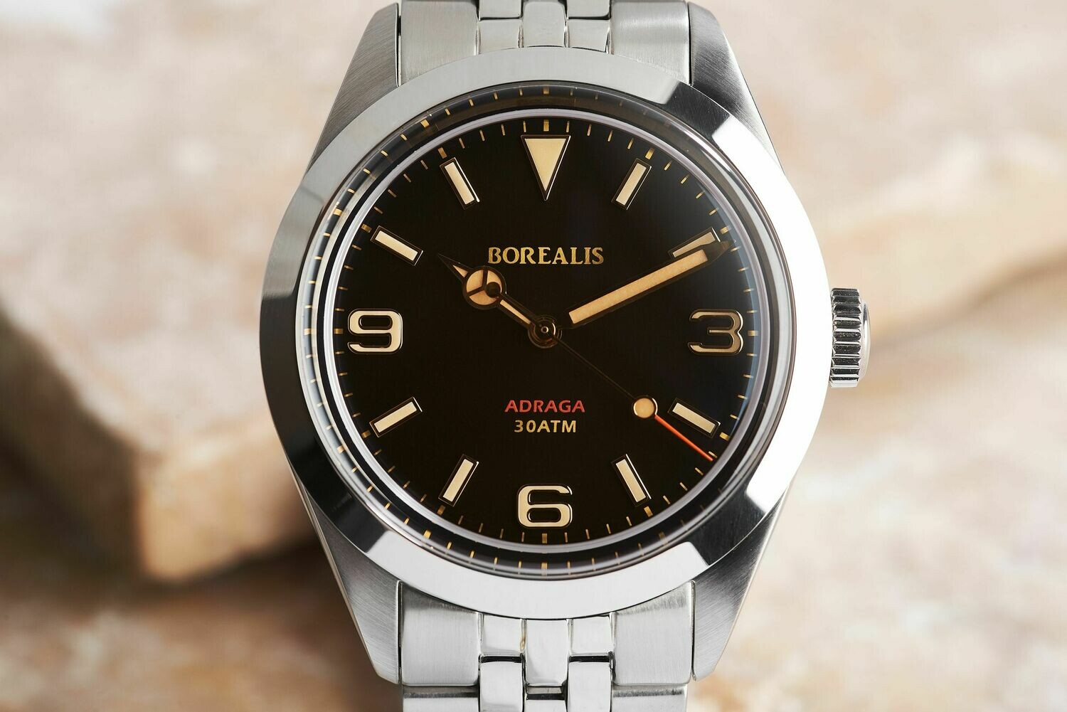 Borealis Adraga Stainless Steel Miyota 90S5 black dial Mercedes Hands No Date Old Radium X1 lume