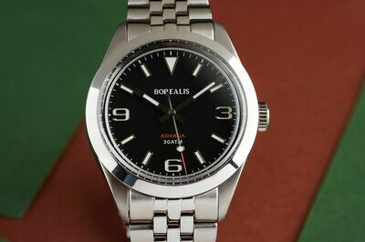 Borealis Adraga Stainless Steel Miyota 90S5 black dial Commando Hands no Date BGW9 Lume