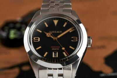 Borealis Adraga Stainless Steel Miyota 9015 black dial Mercedes Hands Date Old Radium X1 lume