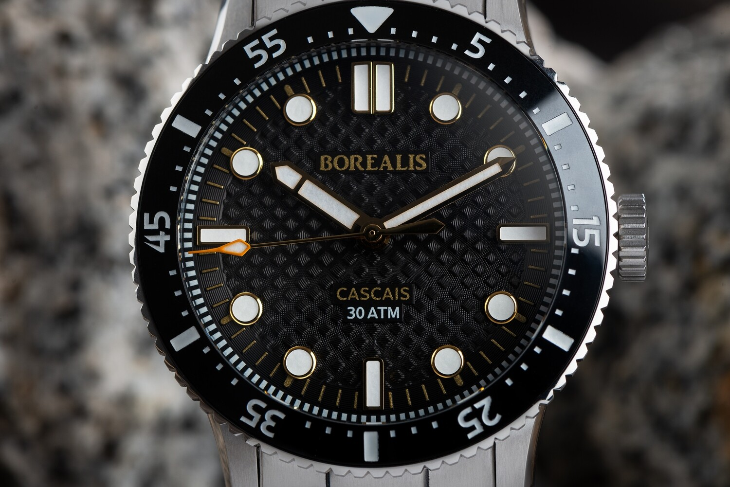 Borealis Cascais V2 Version AB Black Portuguese Cobblestone Dial Pencil Hands No Date