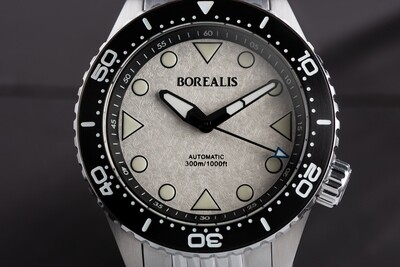 Pre-Order Borealis Neptuno White Icy Frost No Date NH38 Automatic Movement 300m Diver Watch