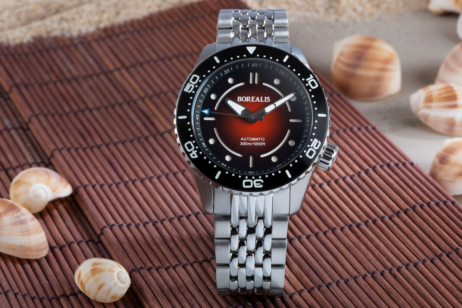 Pre-Order Borealis Neptuno Red Fade to Black Dial No Date NH38 Automatic Movement 300m Diver Watch