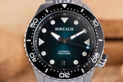 Pre-Order Borealis Neptuno Green Fade to Black Dial Date NH35 Automatic Movement 300m Diver Watch