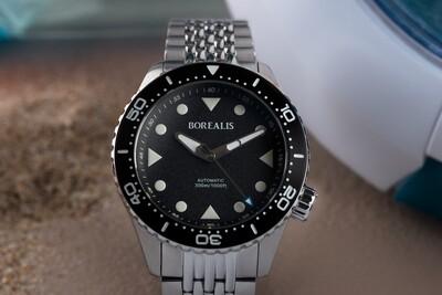 Pre-Order Borealis Neptuno Black Dial No Date NH38 Automatic Movement 300m Diver Watch