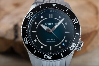 Pre-Order Borealis Neptuno Fade to Black Dial no Date NH38 Automatic Movement 300m Diver Watch