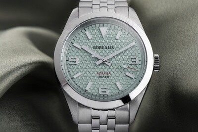 Borealis Adraga Stainless Steel Miyota 90S5 blue turquoise dial with flag pattern commando hands no Date BGW9 lume