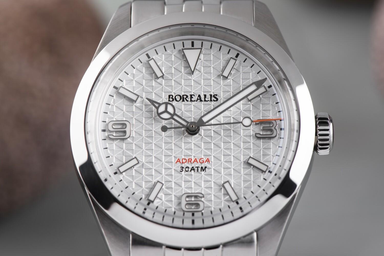 Borealis Adraga Stainless Steel Miyota 90S5 white flag pattern dial Mercedes Hands No Date BGW9 lume