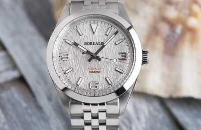 Borealis Adraga Stainless Steel Miyota 90S5 white snow flake dial pattern commando hands no Date BGW9 lume