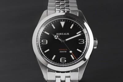 Borealis Adraga Stainless Steel Miyota 90S5 black dial Mercedes Hands No Date BGW9 lume