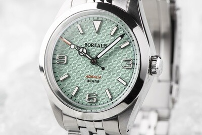 Borealis Adraga Stainless Steel Miyota 90S5 blue turquoise flag pattern dial Mercedes Hands No Date BGW9 lume