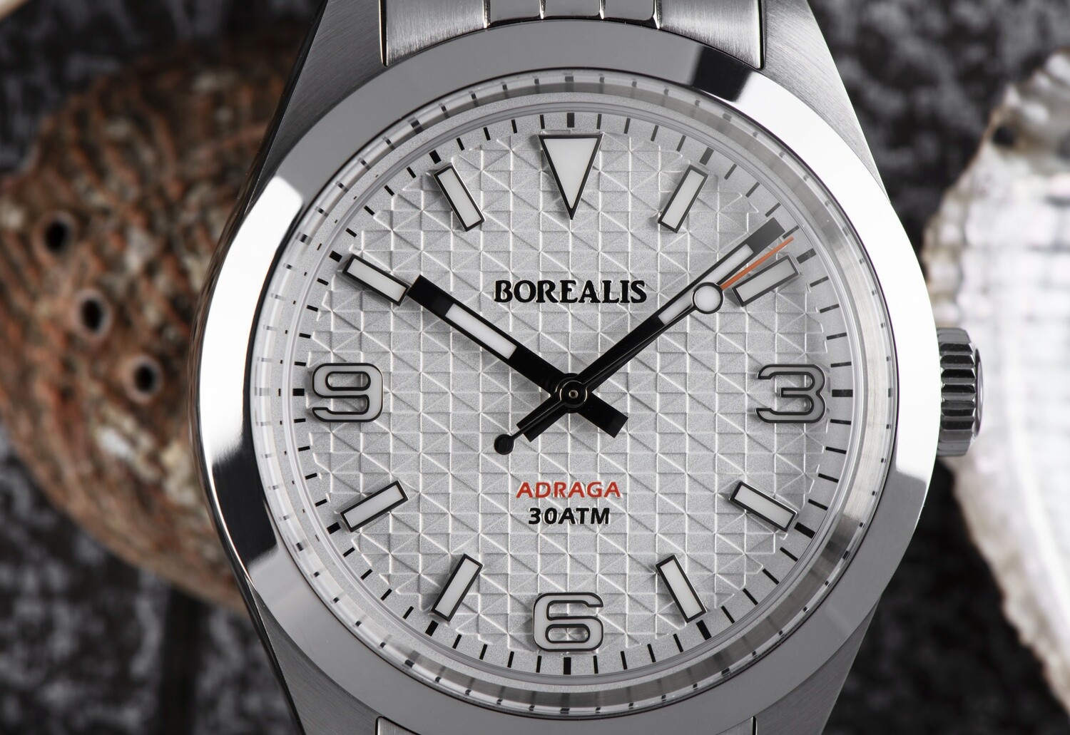 Borealis Adraga Stainless Steel Miyota 90S5 white dial with flag pattern commando hands no Date BGW9 lume