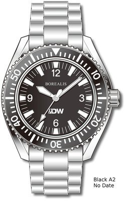 Pre-Order Borealis Estoril 300 for Diver's Watches Facebook Group Black Dial Arabic Numbers Date Black A2 No Date