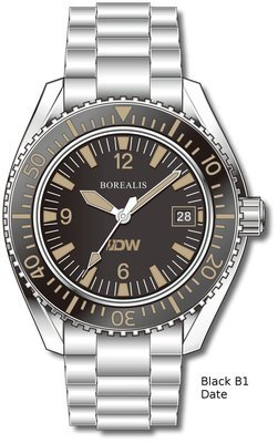 Pre-Order Borealis Estoril 300 for Diver's Watches Facebook Group Black Dial Arabic Numbers Date Black B1 Date