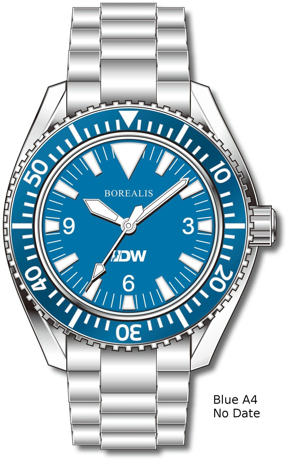 Pre-Order Borealis Estoril 300 for Diver's Watches Facebook Group Blue Dial Big Triangle No Date Blue A4
