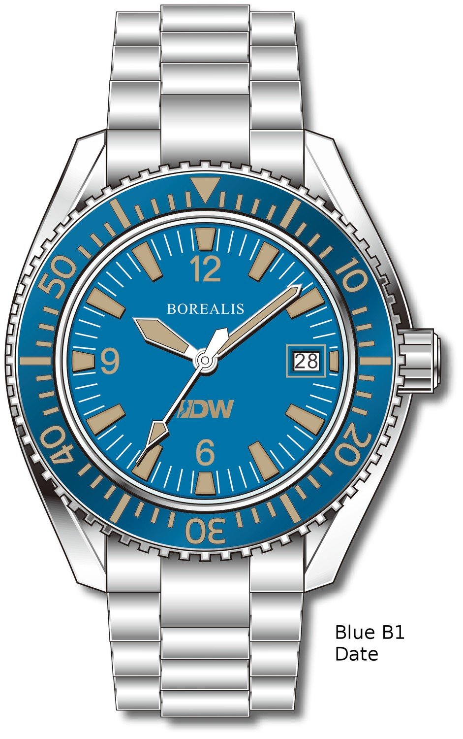 Pre-Order Borealis Estoril 300 for Diver's Watches Facebook Group Blue Dial Arabic Numbers Date Blue B1 Date