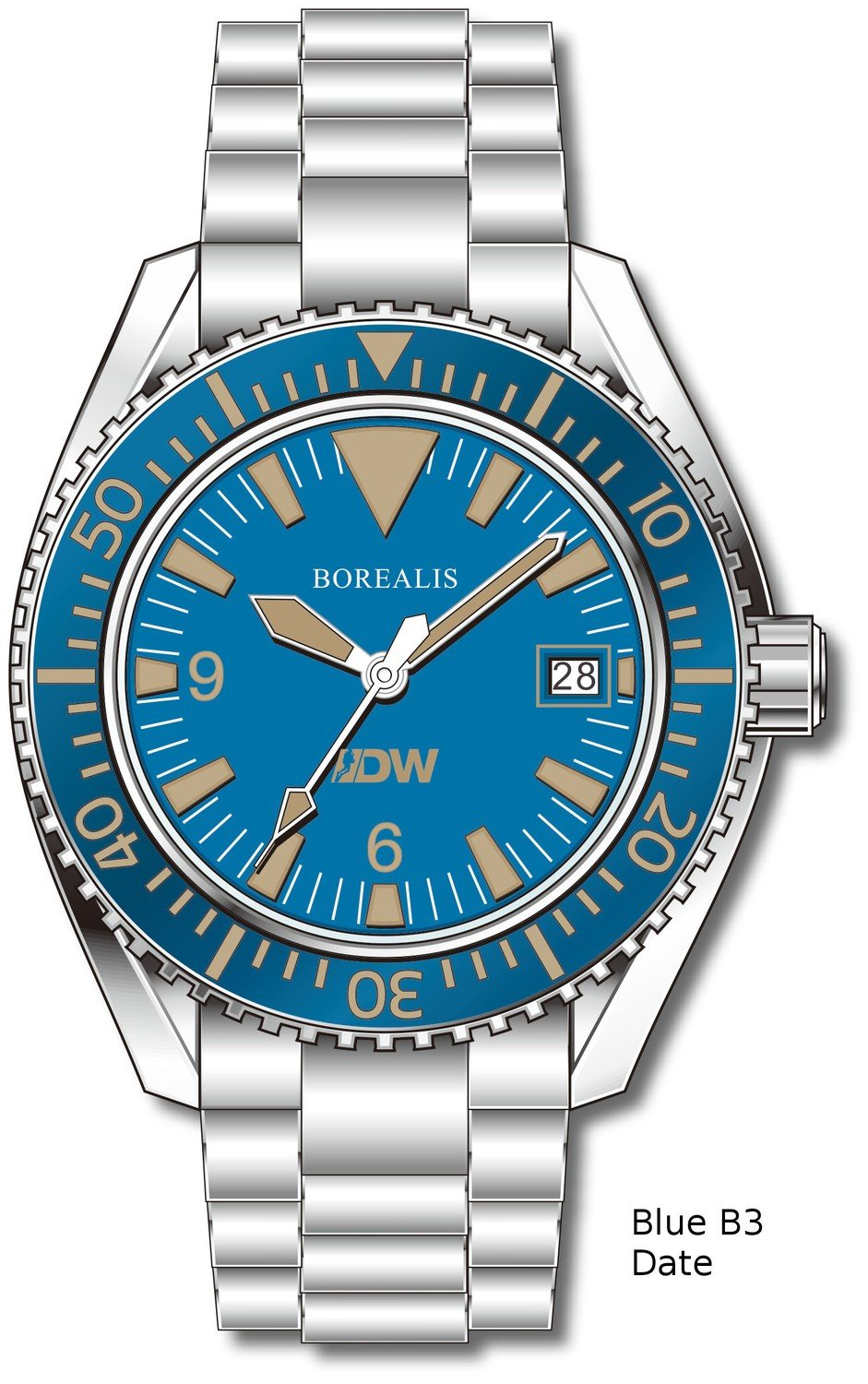 Pre-Order Borealis Estoril 300 for Diver's Watches Facebook Group Blue Dial Big Triangle Date Blue B3 Date