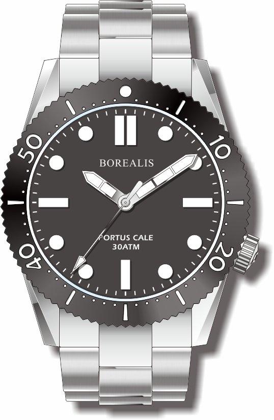Pre-Order Borealis Portus Cale Black Version A1 Dial SLWL No Date
