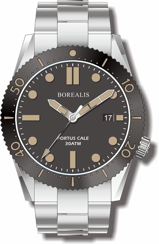Pre-Order Borealis Portus Cale Black Version C Dial Old Radium Date