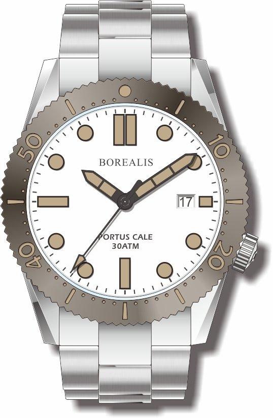 Pre-Order Borealis Portus Cale White Version C Dial Old Radium X1 Date