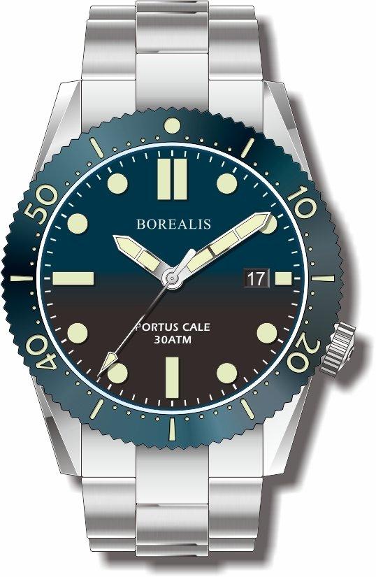 Pre-Order Borealis Portus Cale Blue Fade to Black Version B Dial C3X1 Date