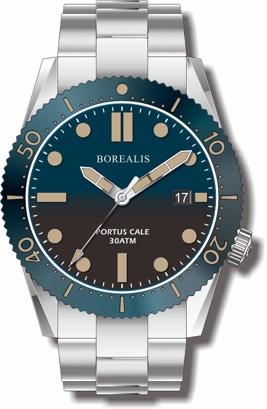 Pre-Order Borealis Portus Cale Blue Fade to Black Version C Dial Old Radium Date