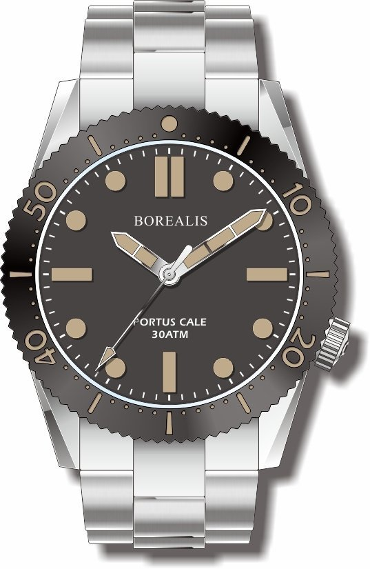 Pre-Order Borealis Portus Cale Black Version C1 Dial Old Radium No Date