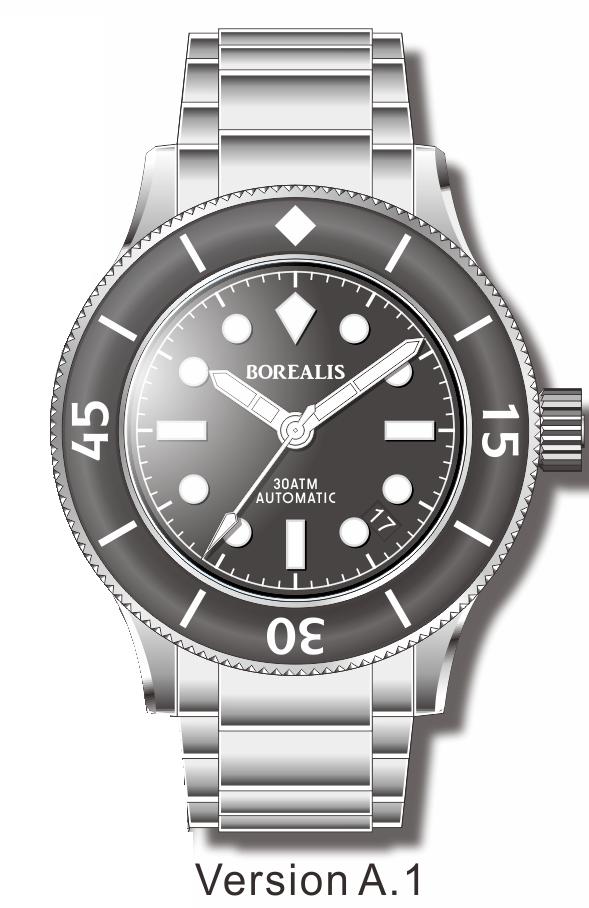Pre-Order Borealis Sea Storm V2 Black Dial Version A.A1 Date BGW9 Lume