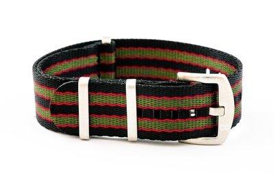 Premium Nato style seatbelt nylon strap 22mm size three tone black red green
