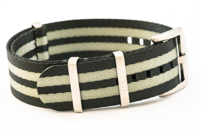 Premium Nato style seatbelt nylon strap 22mm size two tone black grey