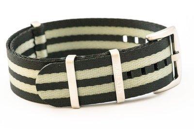 Premium Nato style seatbelt nylon strap 20mm size two tone black grey