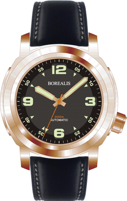Borealis Batial Bronze CuSn8 Black 3000m Miyota 9015 Automatic Diver Watch No Date Display