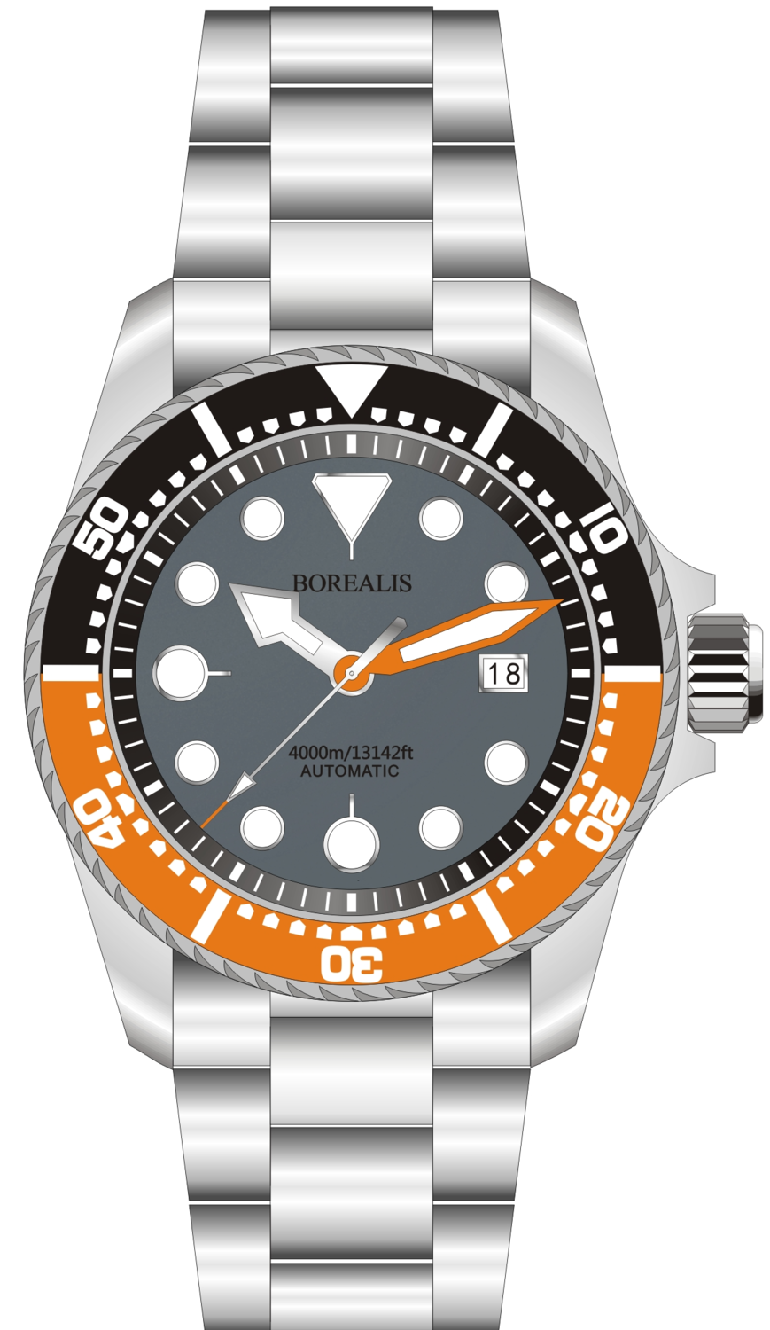Borealis Seafarer II Stainless Steel Gray Orange BGW9 Sapphire Turbine Style Grip Bezel 4000m Miyota 9015 Automatic Diver Watch