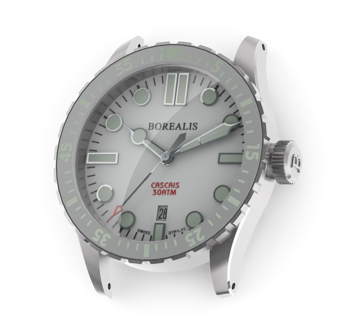 Borealis Cascais White Dial Cathedral Hands Date C3 X1 Lume
