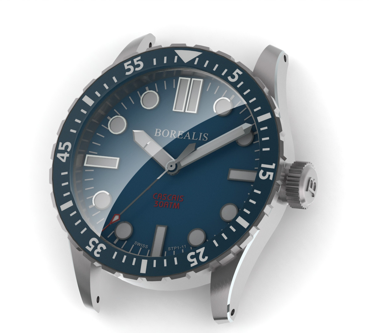Borealis Cascais Blue Dial Pencil Hands No Date BGW9 Lume