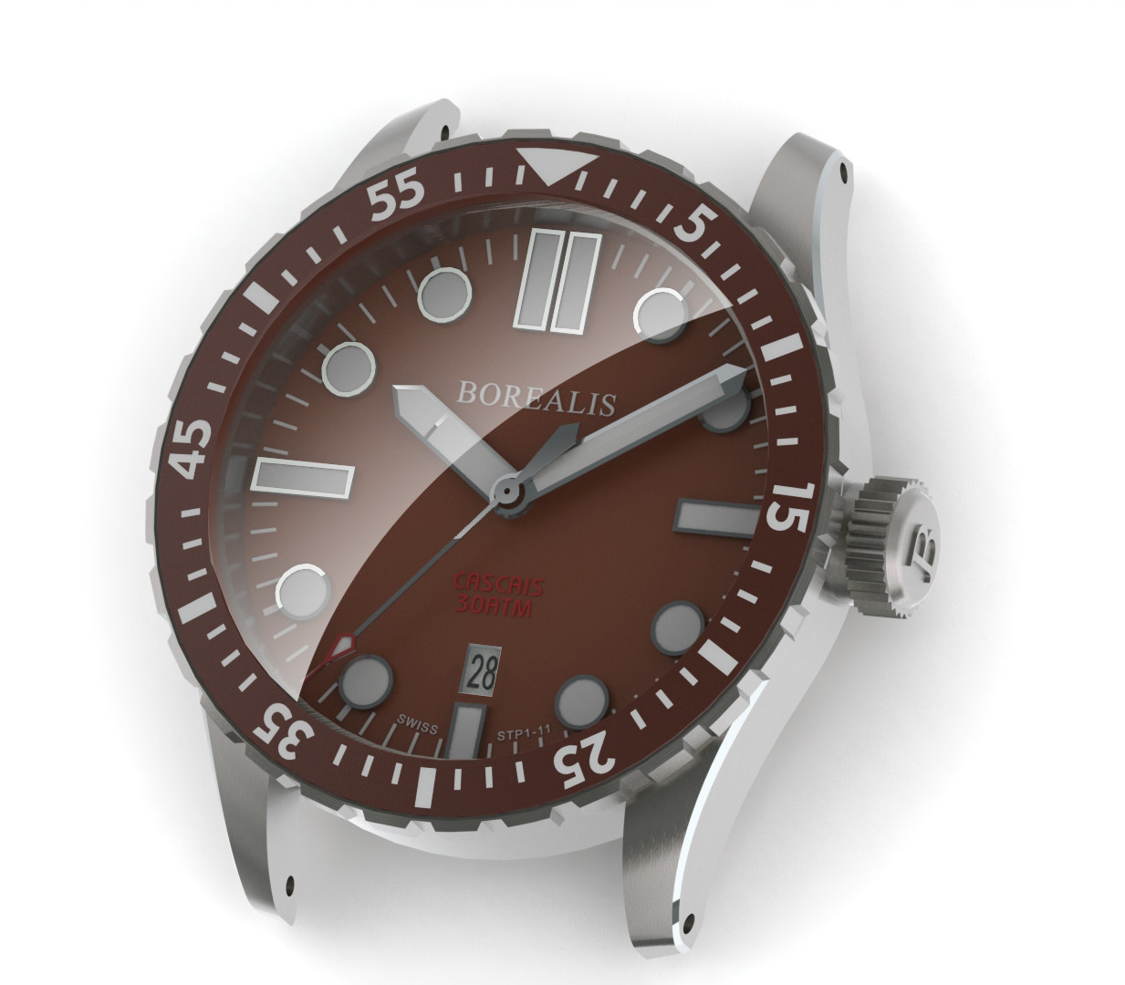 Borealis Cascais Brown Dial Pencil Hands Date BGW9 Lume