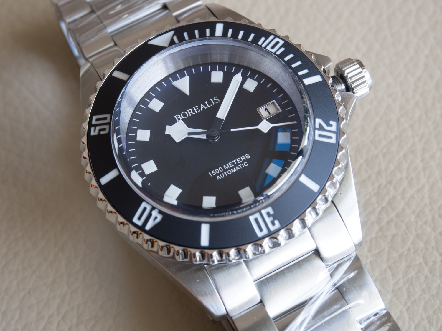 Borealis Sea Hawk 1500m Automatic Diver Watch Seiko NH36 / 4R36 Ceramic Black Bezel Black Dial