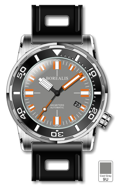 Borealis Sea Dragon Gray Dial Miyota 9015 Automatic Diver Watch 300m