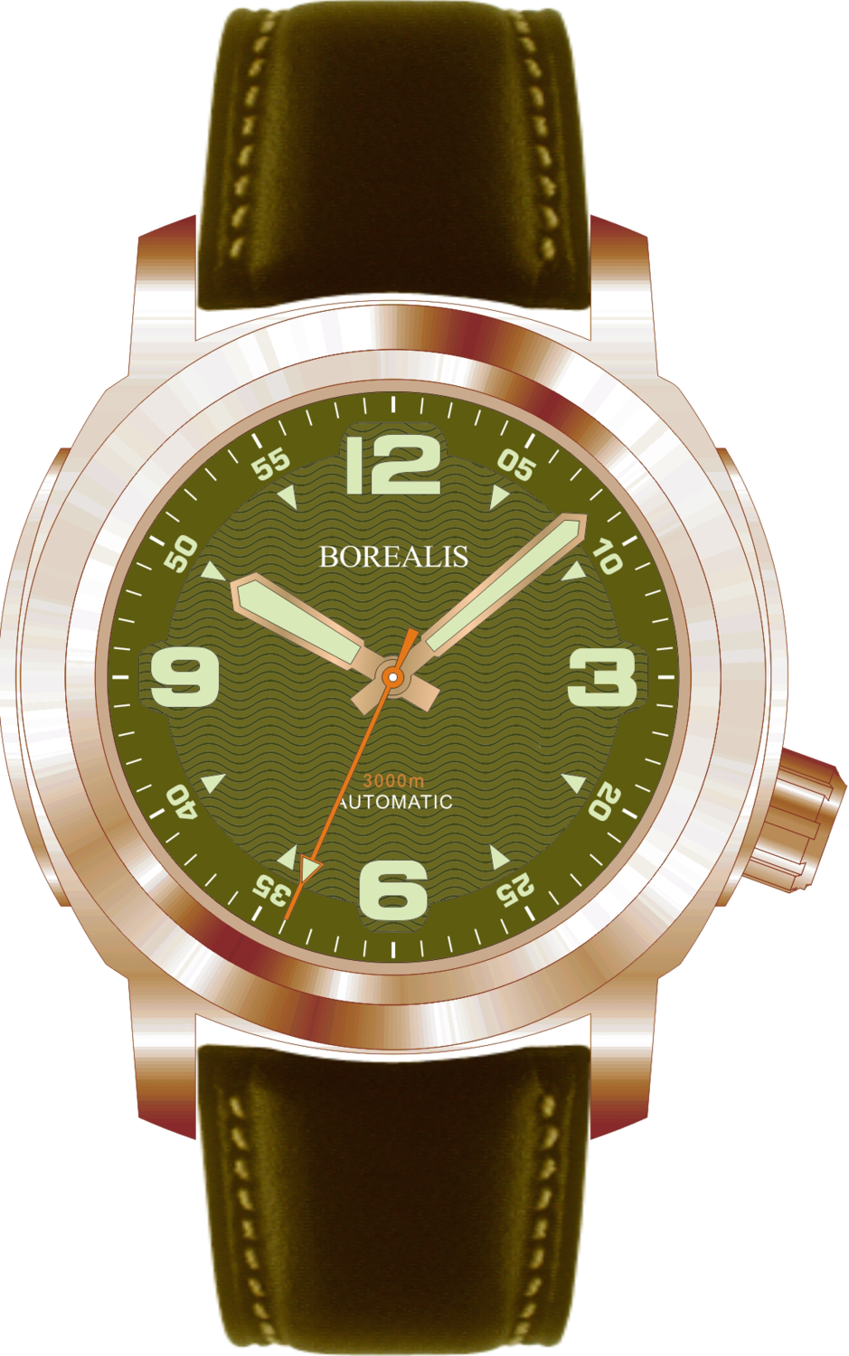 Borealis Batial Bronze CuSn8 Green 3000m Miyota 9015 Automatic Diver Watch No Date Display