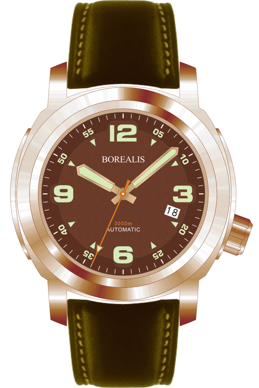 Borealis Batial Bronze CuSn8 Brown 3000m Miyota 9015 Automatic Diver Watch With Date Display