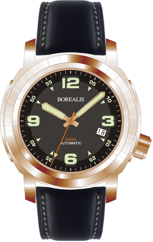 Borealis Batial Bronze CuSn8 Black 3000m Miyota 9015 Automatic Diver Watch With Date Display