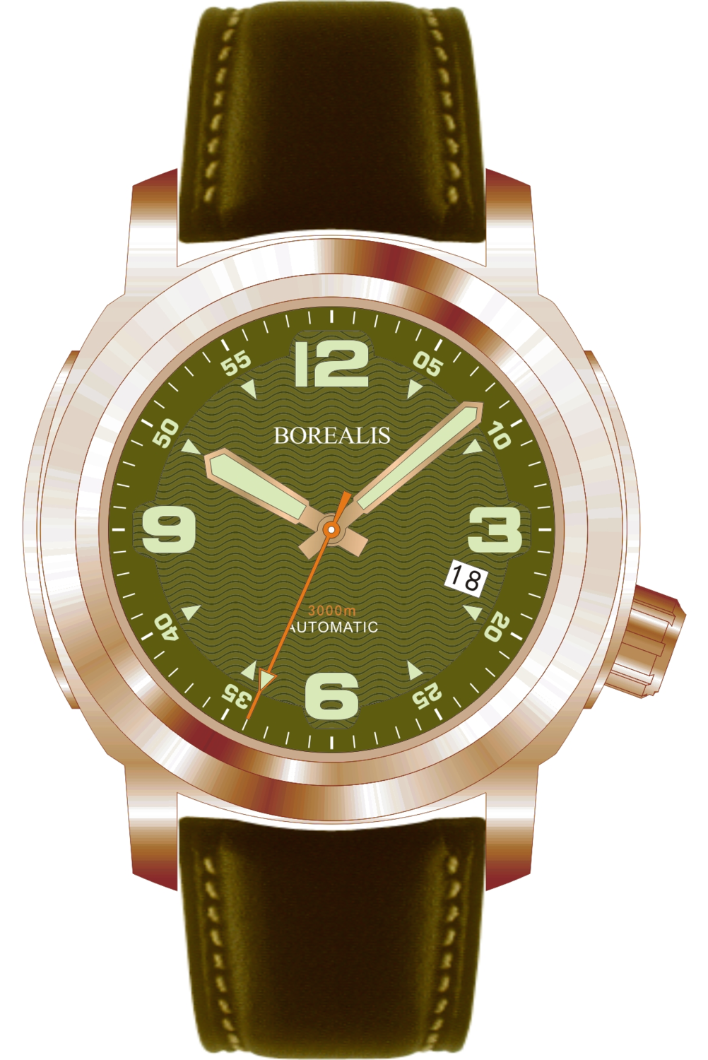 Borealis Batial Bronze CuSn8 Green 3000m Miyota 9015 Automatic Diver Watch With Date Display