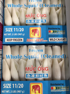 【RS】Frozen Whole Squid (Cleaned) 急冻鲜鱿鱼 Size 11/20 2lbs